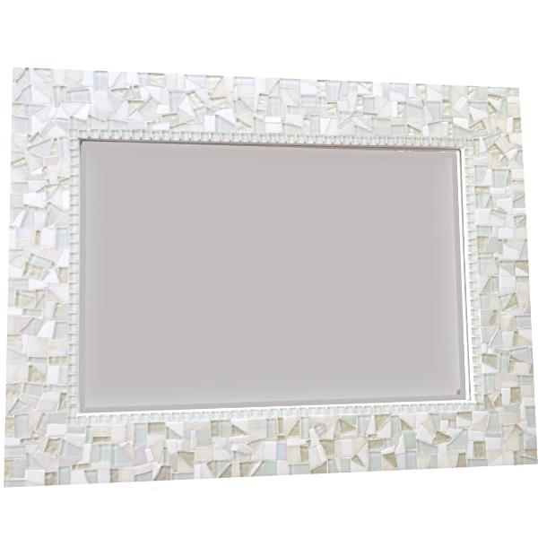 White Mosaic Wall Mirror, Rectangular Mosaic Mirror, Green Street Mosaics
