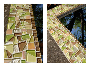 Yellow and Gold Mosaic Mirror, Rectangular Mosaic Mirror, Green Street Mosaics