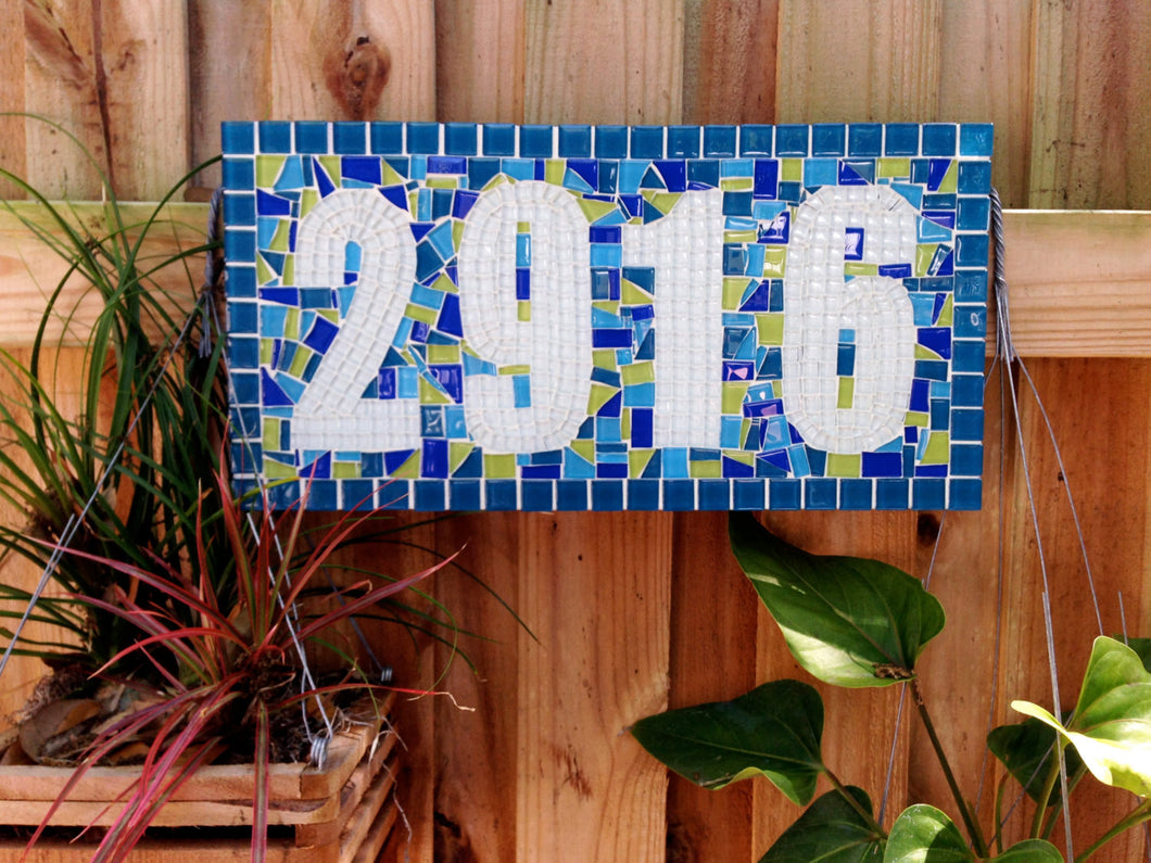 Colorful Mosaic Address Sign