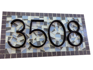 Mosaic Address Plaque, Gray and Blue, House Number Sign, Green Street Mosaics