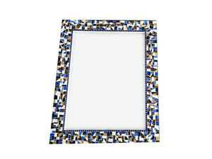 Large Wall Mirror - Brown, Navy Blue, White, Rectangular Mosaic Mirror, Green Street Mosaics