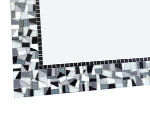 Black and White Square Mosaic Mirror, Square Mosaic Mirror, Green Street Mosaics
