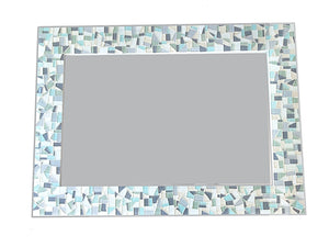 Mosaic Mirror Gray White Aqua, Rectangular Mosaic Mirror, Green Street Mosaics