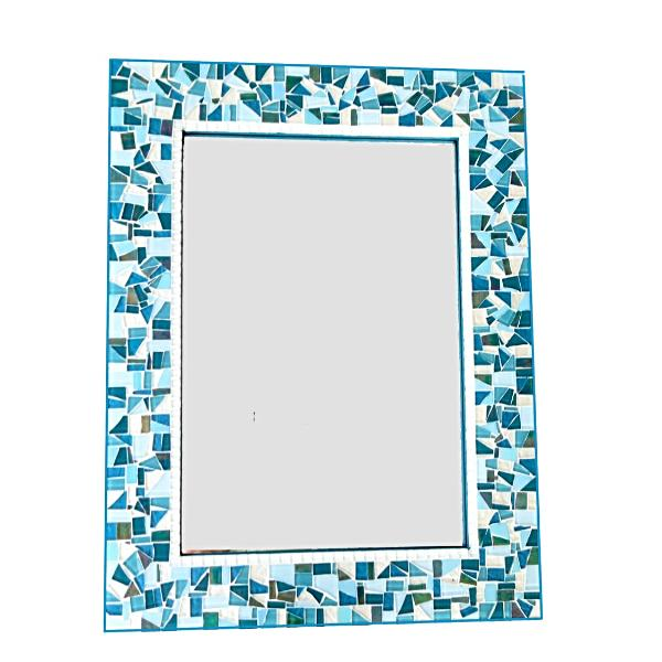 Turquoise, Teal, and Blue Large Mosaic Wall Mirror