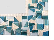 Aqua Teal and White Mosaic Wall Mirror, Rectangular Mosaic Mirror, Green Street Mosaics
