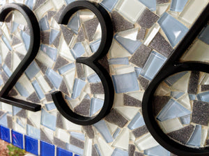 Blue and Gray Mosaic House Number Plaque, House Number Sign, Green Street Mosaics