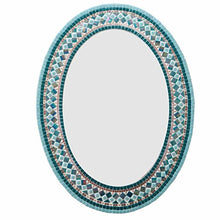 Teal and Copper Mosaic Mirror, OVAL Mosaic Mirror, Green Street Mosaics