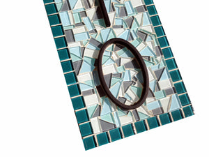 Teal and Aqua House Numbers, House Number Sign, Green Street Mosaics