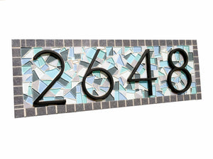 Blue and Gray Mosaic Address Marker, House Number Sign, Green Street Mosaics