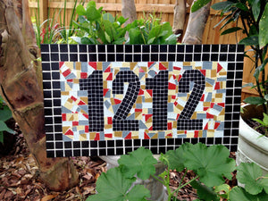 Colorful Mosaic House Number Sign, House Number Sign, Green Street Mosaics