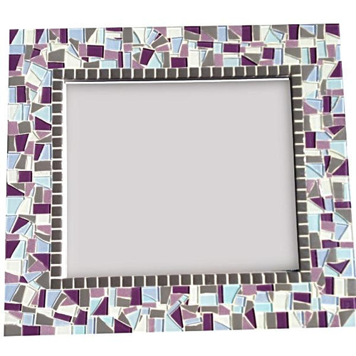 Mosaic Mirror Purple and Gray, Rectangular Mosaic Mirror, Green Street Mosaics