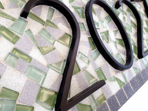 Green and Gray Address Plaque, House Number Sign, Green Street Mosaics