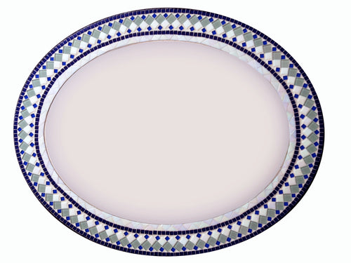 Large Wall Mirror Blue White Green, OVAL Mosaic Mirror, Green Street Mosaics