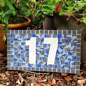 Blue and Gray House Number Plaque, House Number Sign, Green Street Mosaics