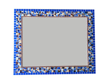 Blue Brown Beige Mosaic Mirror, Rectangular Mosaic Mirror, Green Street Mosaics