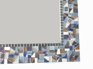 Blue and Gray Mosaic Mirror, Rectangular Mosaic Mirror, Green Street Mosaics