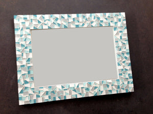 Custom Mosaic Mirror for Bathroom, Rectangular Mosaic Mirror, Green Street Mosaics