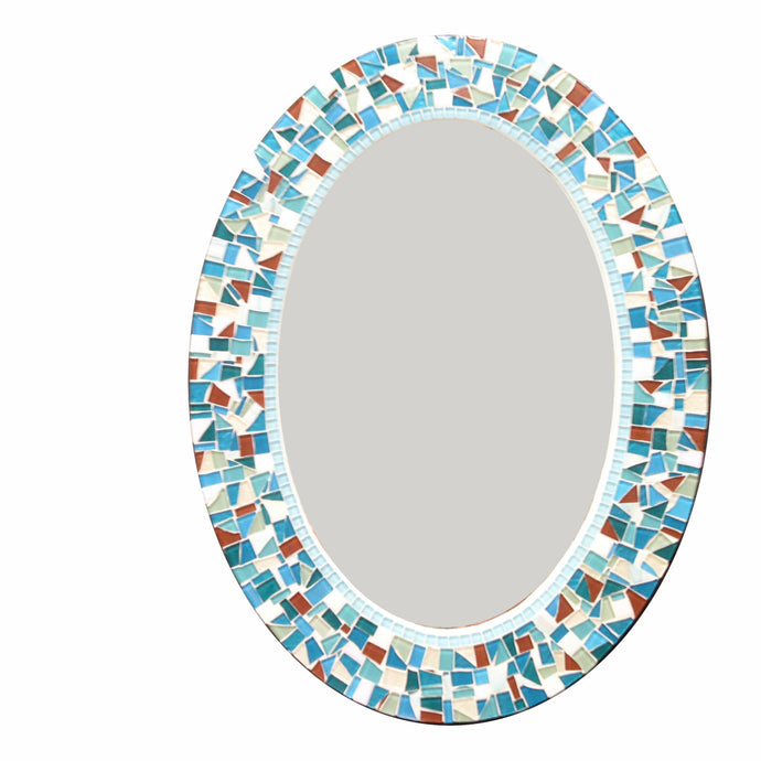 Oval Mosaic Wall Mirror in Teal, Aqua, White, Brown, OVAL Mosaic Mirror, Green Street Mosaics