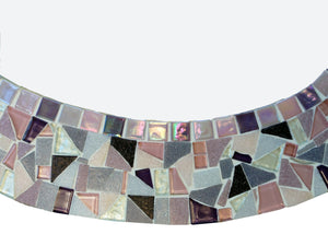 Pink and Purple Mosaic Wall Mirror, OVAL Mosaic Mirror, Green Street Mosaics