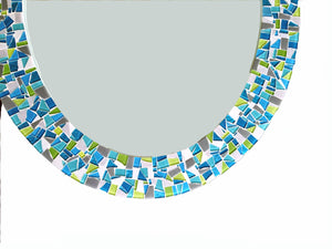 Oval Mosaic Mirror - Teal, Lime Green, Gray, OVAL Mosaic Mirror, Green Street Mosaics
