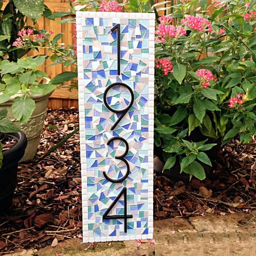 Address Plaque for Coastal Home, House Number Sign, Green Street Mosaics
