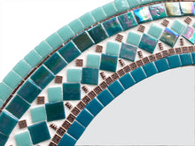 Mosaic Accent Mirror Teal and Copper, Round Mosaic Mirror, Green Street Mosaics