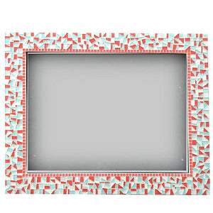 Pink and Aqua Mosaic Mirror, Rectangular Mosaic Mirror, Green Street Mosaics