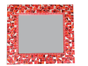 Red Wall Mirror, Rectangular Mosaic Mirror, Green Street Mosaics