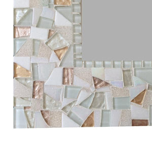White and Gold Mosaic Mirror, Rectangular Mosaic Mirror, Green Street Mosaics