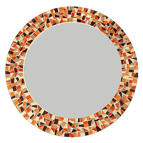 Orange and Brown Mosaic Mirror, Round Mosaic Mirror, Green Street Mosaics