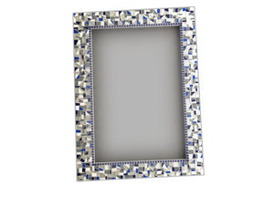 Blue and Gray Mirror Handcrafted by Green Street Mosaics, Rectangular Mosaic Mirror, Green Street Mosaics