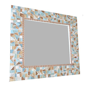 Mosaic Mirror for a Beach House, Rectangular Mosaic Mirror, Green Street Mosaics