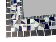 Large Mosaic Wall Mirror in Gray, White, Navy Blue, Rectangular Mosaic Mirror, Green Street Mosaics