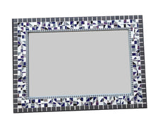 Large Mosaic Wall Mirror in Gray, White, Navy Blue