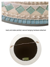 Mosaic Wall Mirror Aqua and Gray, Round Mosaic Mirror, Green Street Mosaics
