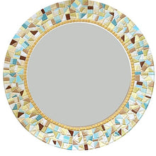 Yellow and Aqua Mosaic Mirror, Round Mosaic Mirror, Green Street Mosaics