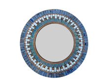 Blue and Copper Round Mosaic Wall Mirror, Round Mosaic Mirror, Green Street Mosaics