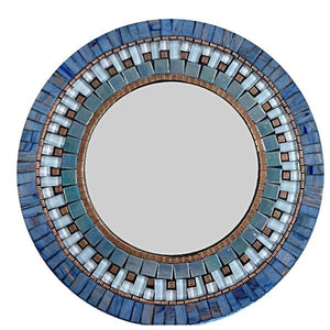 Blue and Copper Round Mosaic Wall Mirror