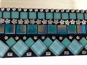 Mixed Media Mosaic Mirror Turquoise and Silver, Rectangular Mosaic Mirror, Green Street Mosaics