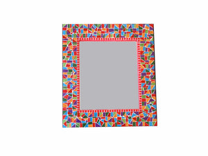 Multicolored Mosaic Wall Mirror, Rectangular Mosaic Mirror, Green Street Mosaics