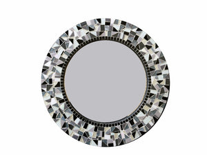 Black and White Mirror, Round Mosaic Mirror, Green Street Mosaics