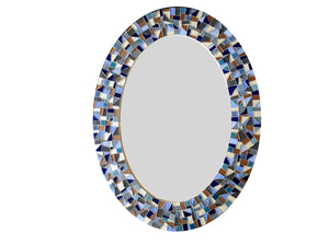 Mosaic Mirror for Bathroom, OVAL Mosaic Mirror, Green Street Mosaics