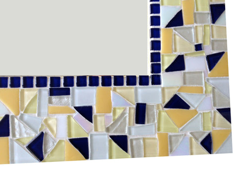 Yellow and Navy Blue Mosaic Wall Mirror, Rectangular Mosaic Mirror, Green Street Mosaics