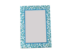 Turquoise and Blue Mosaic Mirror, Rectangular Mosaic Mirror, Green Street Mosaics