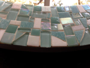 Round Mosaic Mirror - Aqua and Mint, Round Mosaic Mirror, Green Street Mosaics