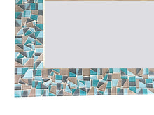 Aqua Gray Brown Mosaic Mirror, Rectangular Mosaic Mirror, Green Street Mosaics