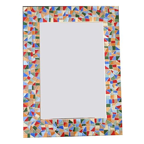 Colorful Wall Mirror, Rectangular Mosaic Mirror, Green Street Mosaics