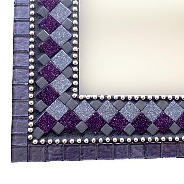 Modern Mosaic Wall Mirror Purple and Black, Rectangular Mosaic Mirror, Green Street Mosaics