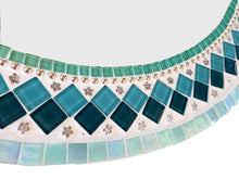 Teal and white mosaic mirror