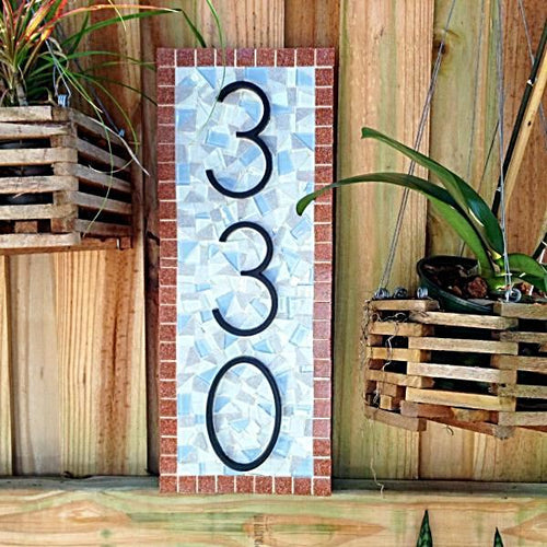 Mosaic House Number Plaque, House Number Sign, Green Street Mosaics